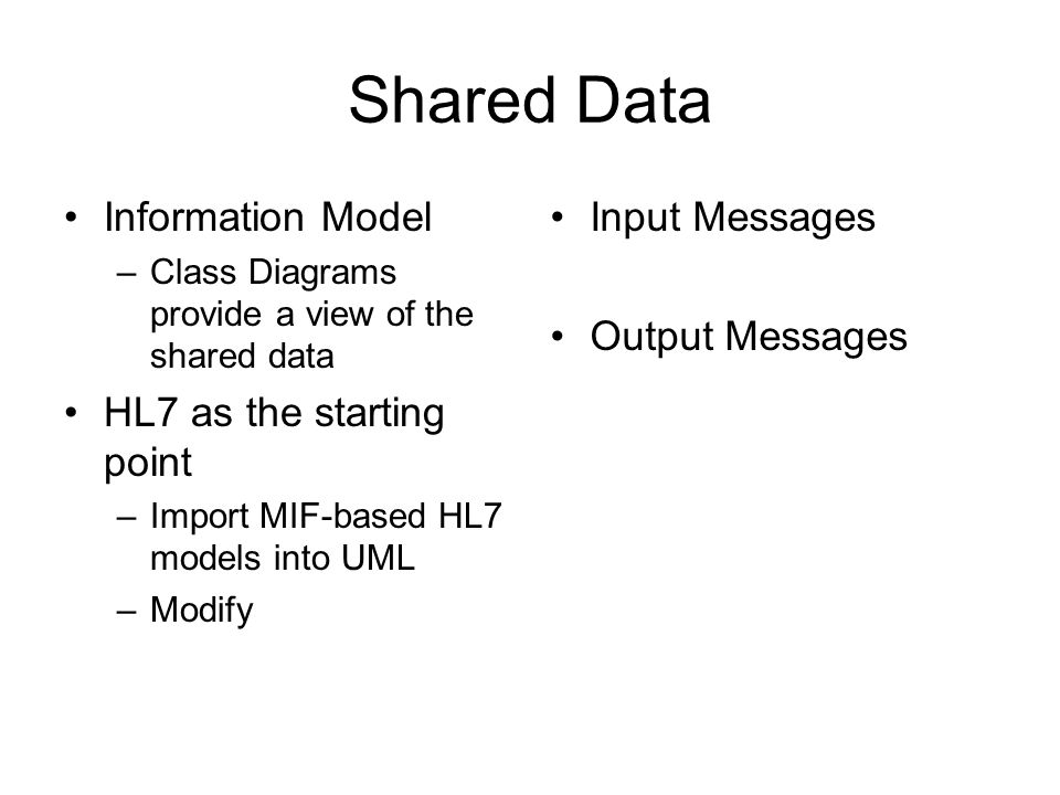 Shared Data Information Model HL7 as the starting point Input Messages