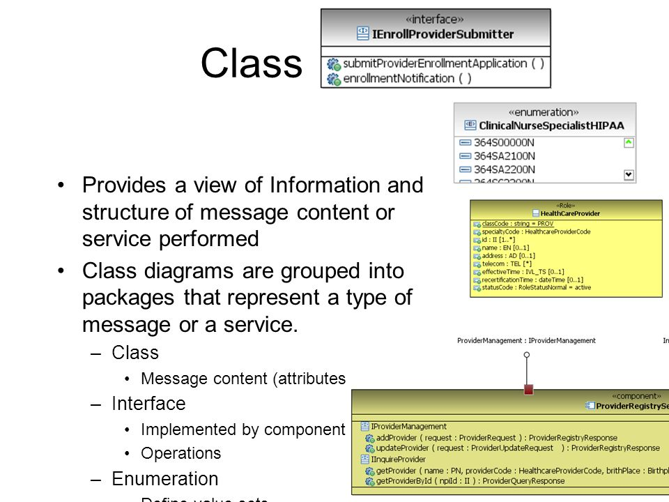 Class Diagram Provides a view of Information and structure of message content or service performed.