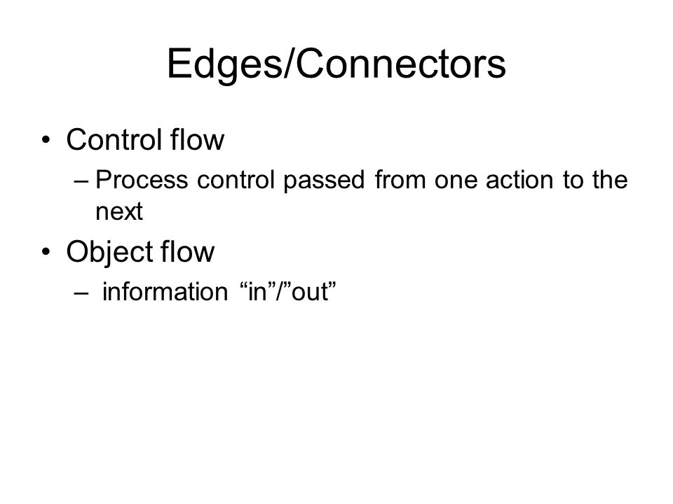 Edges/Connectors Control flow Object flow