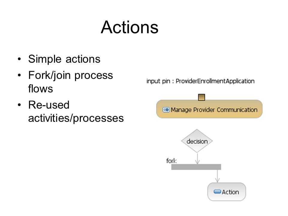 Actions Simple actions Fork/join process flows