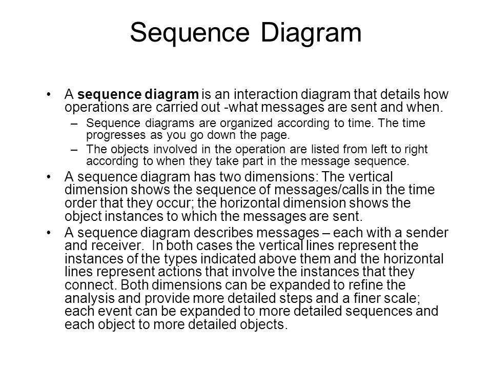 Sequence Diagram A sequence diagram is an interaction diagram that details how operations are carried out -what messages are sent and when.