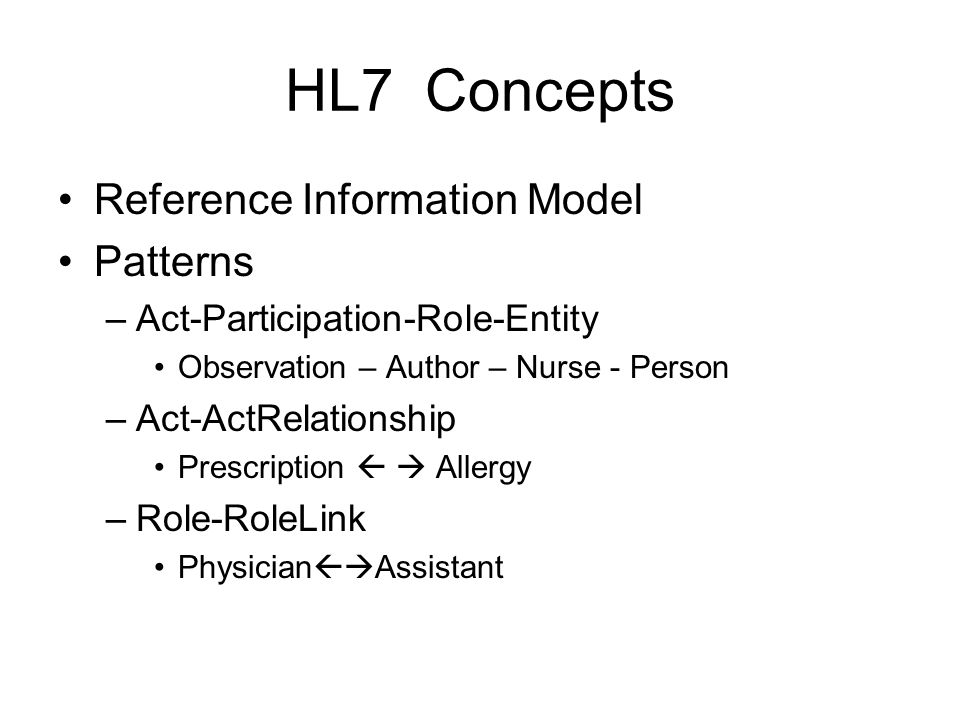 HL7 Concepts Reference Information Model Patterns