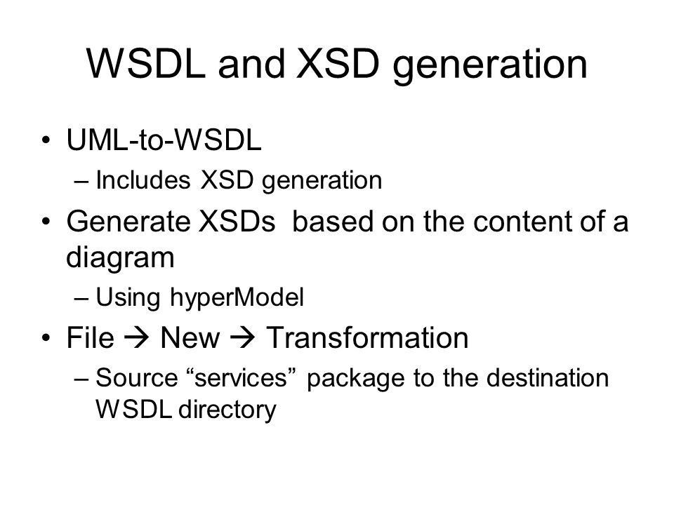 WSDL and XSD generation
