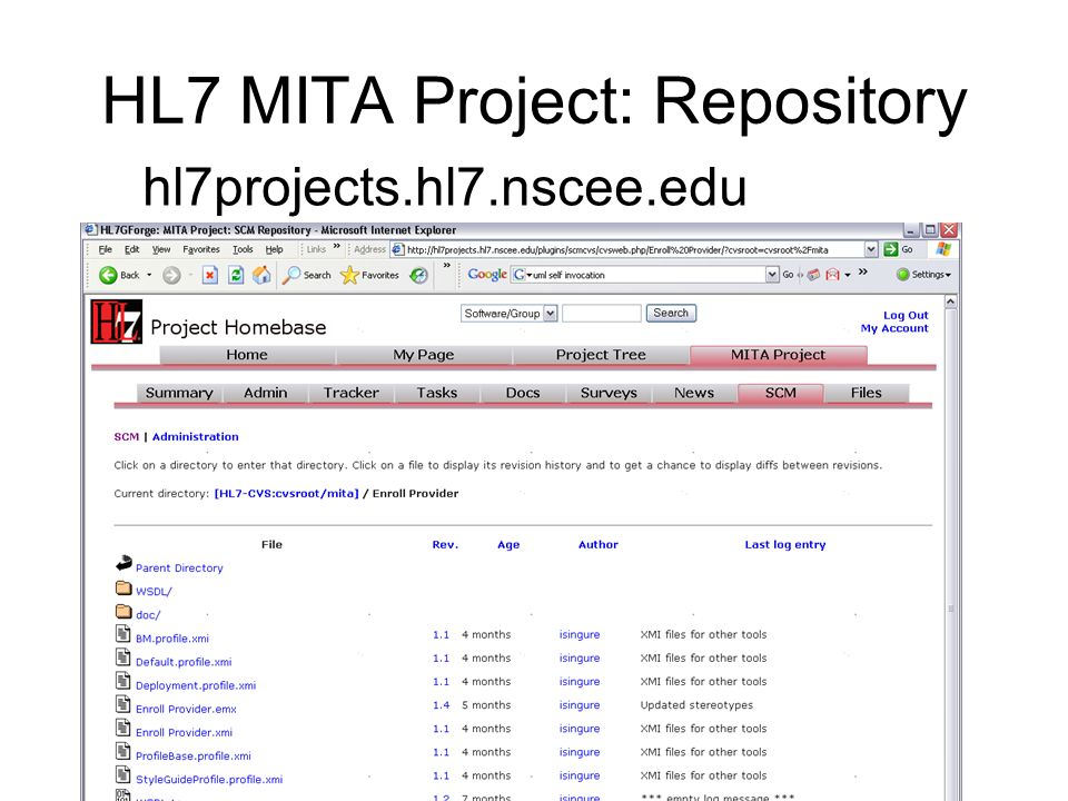 HL7 MITA Project: Repository