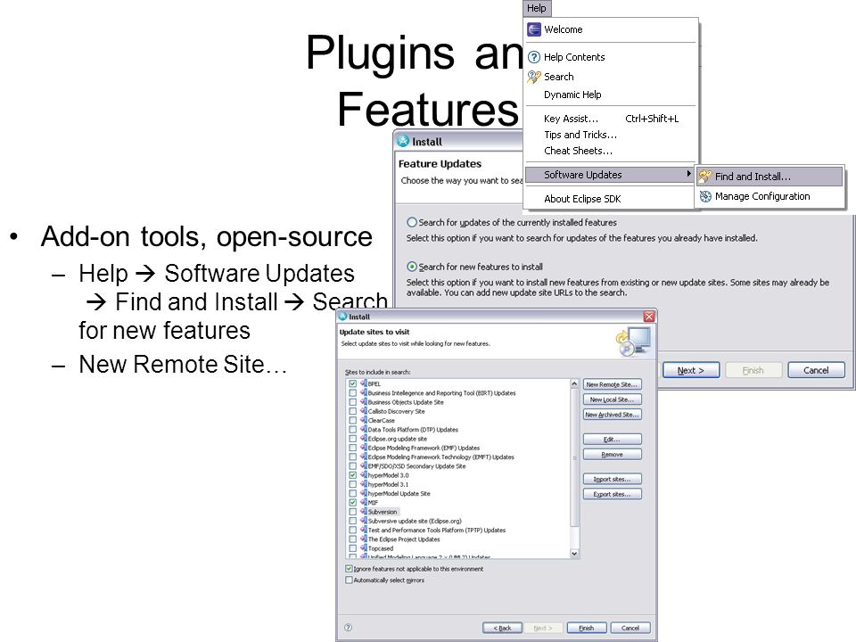 Plugins and Features Add-on tools, open-source