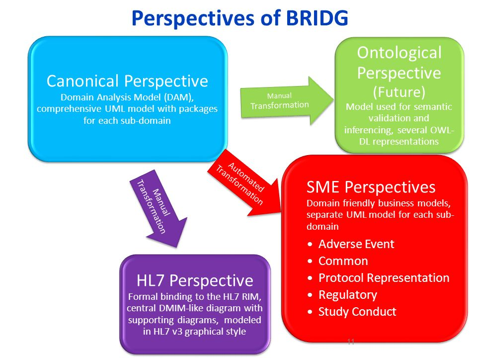 Perspectives of BRIDG Canonical Perspective Domain Analysis Model (DAM), comprehensive UML model with packages for each sub-domain.