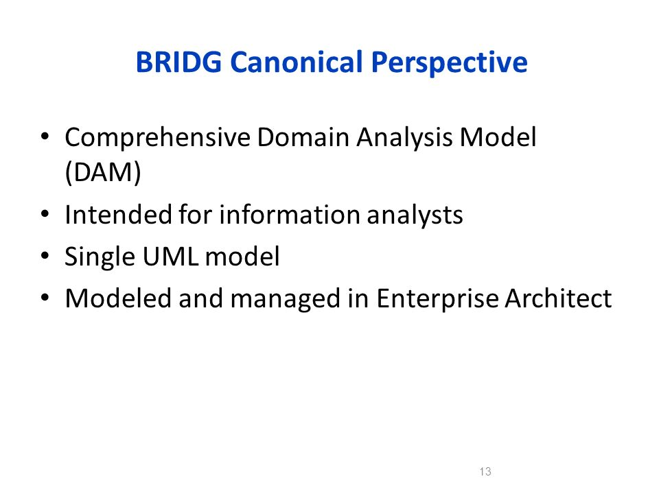 BRIDG Canonical Perspective