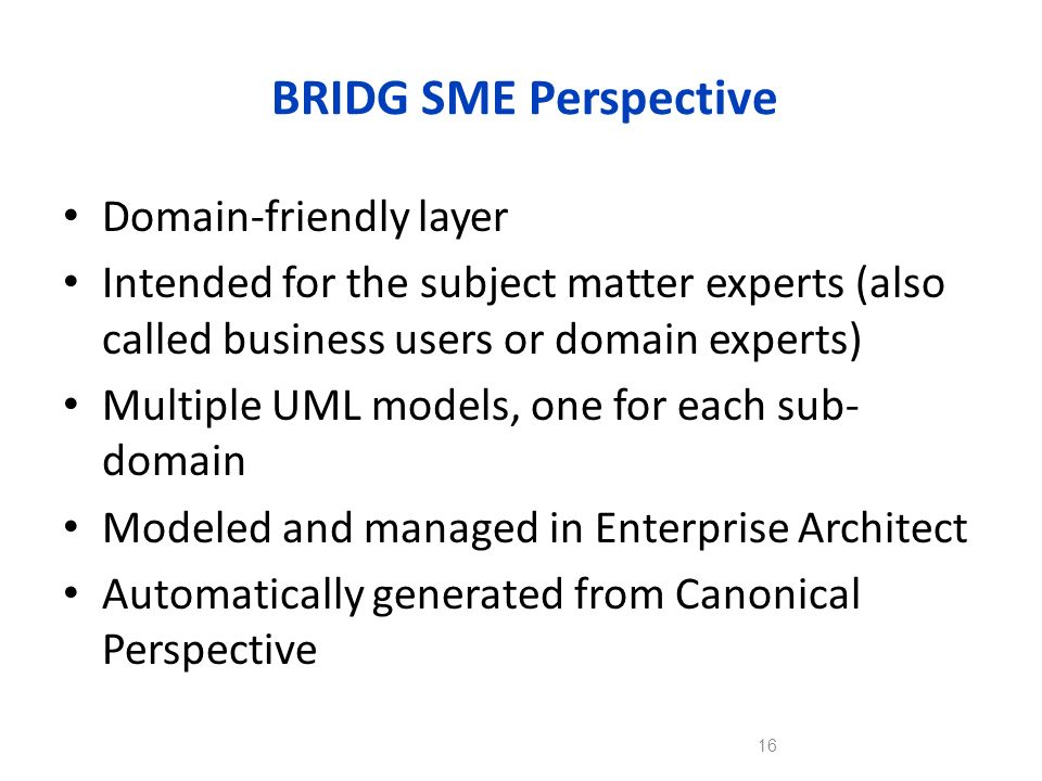 BRIDG SME Perspective Domain-friendly layer