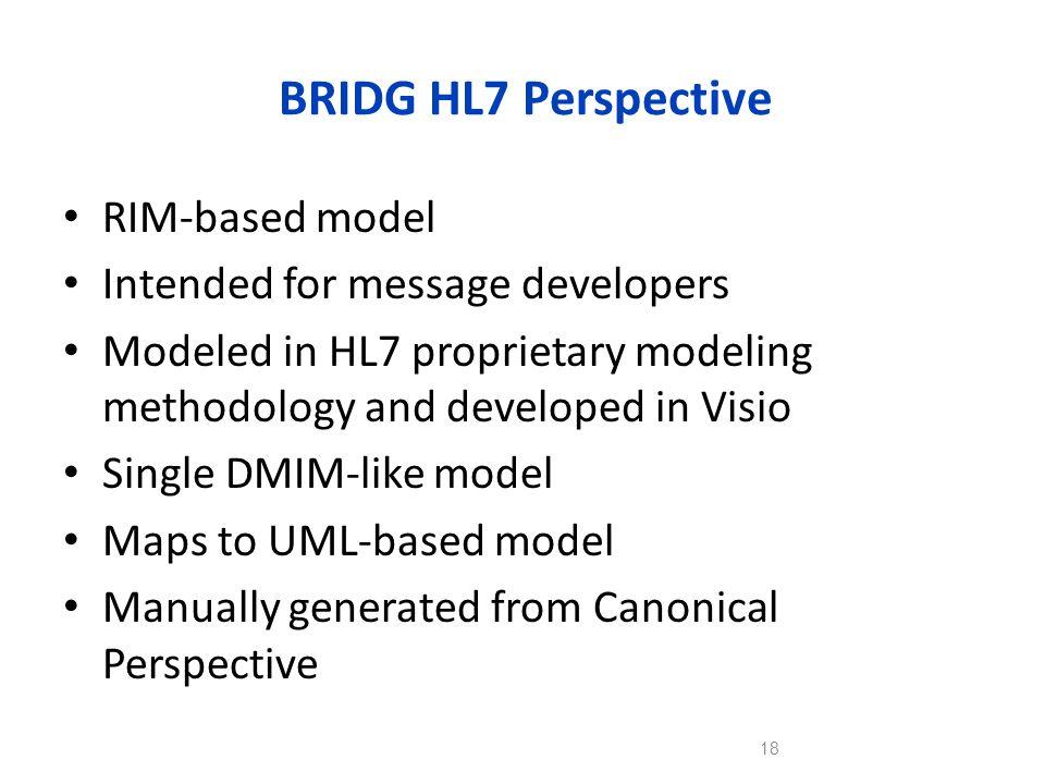 BRIDG HL7 Perspective RIM-based model Intended for message developers