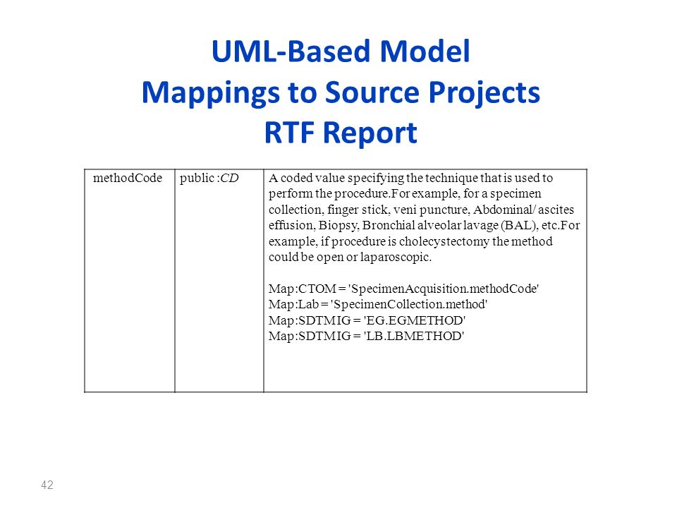 UML-Based Model Mappings to Source Projects RTF Report