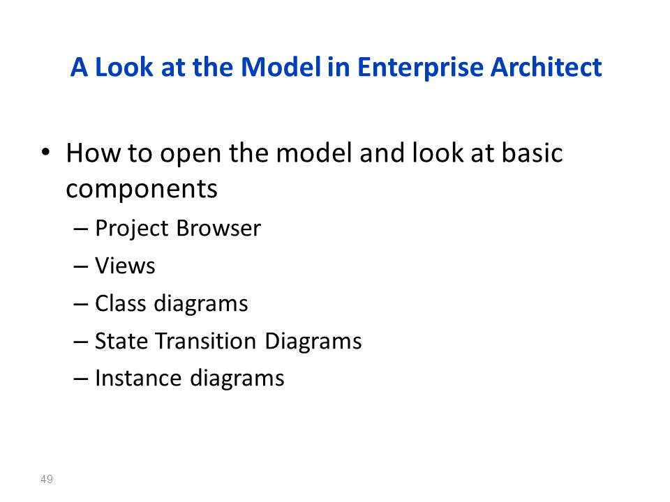A Look at the Model in Enterprise Architect