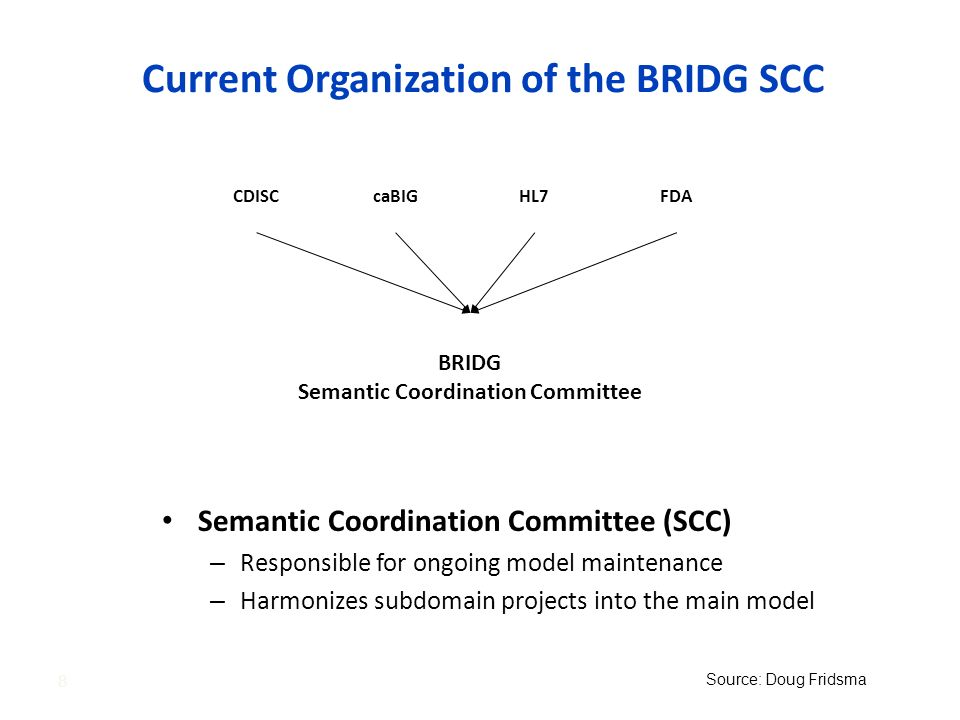 Current Organization of the BRIDG SCC