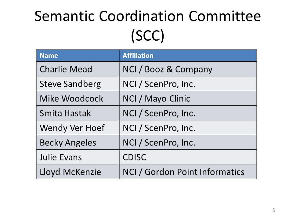 Semantic Coordination Committee (SCC)