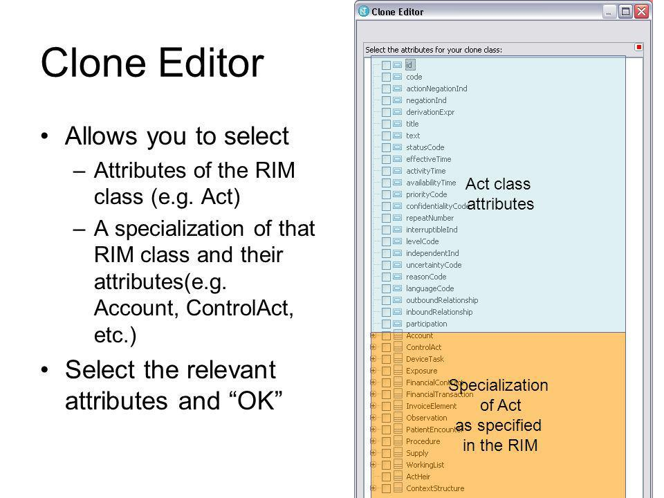 Specialization of Act as specified in the RIM