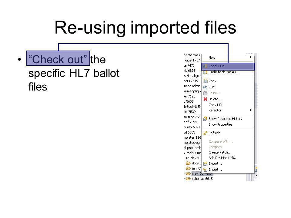 Re-using imported files