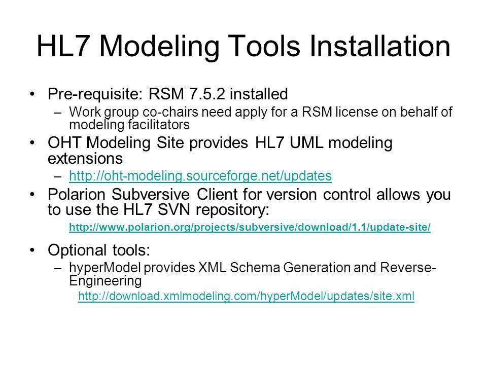 HL7 Modeling Tools Installation