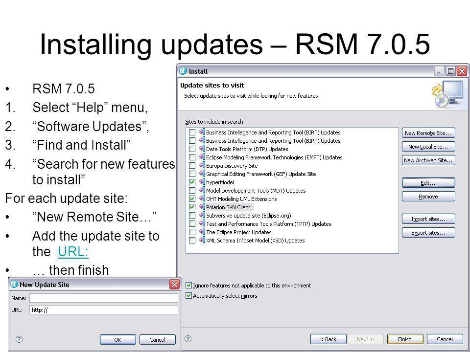 Installing updates – RSM 7.0.5