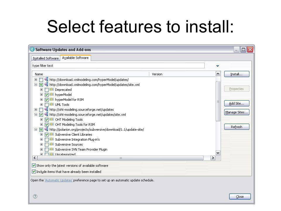 Select features to install: