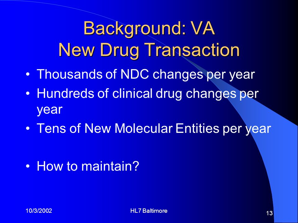 Background: VA New Drug Transaction