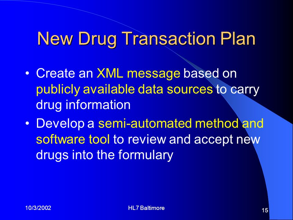 New Drug Transaction Plan