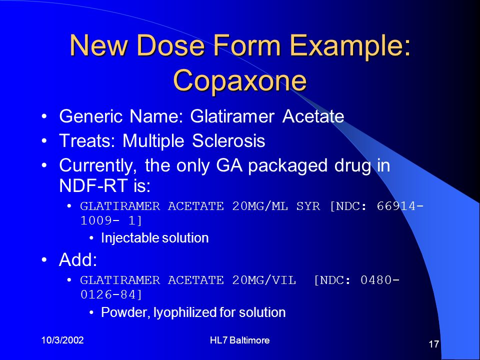 New Dose Form Example: Copaxone