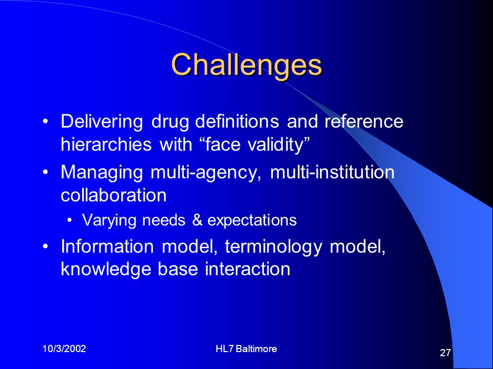 Challenges Delivering drug definitions and reference hierarchies with face validity Managing multi-agency, multi-institution collaboration.