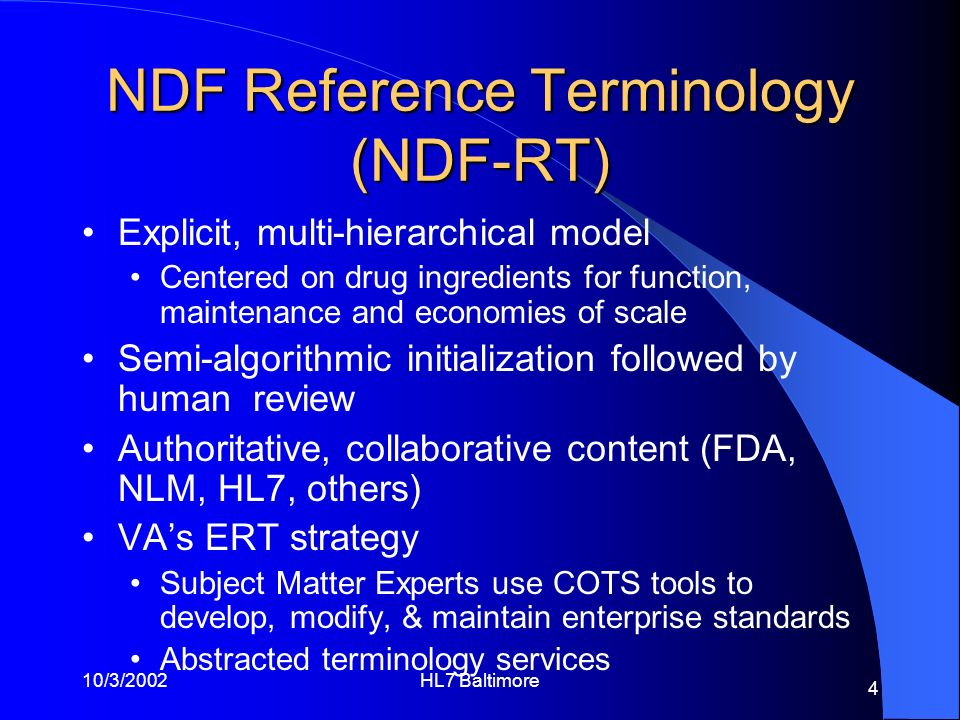 NDF Reference Terminology (NDF-RT)