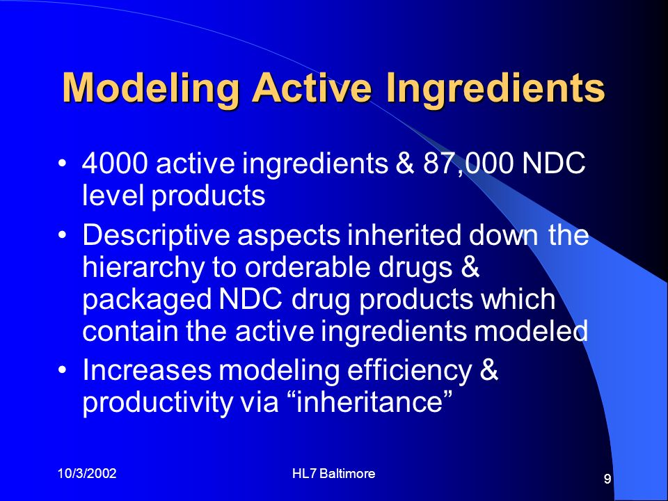 Modeling Active Ingredients