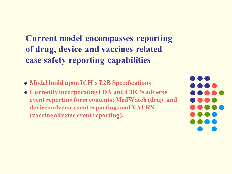 Current model encompasses reporting of drug, device and vaccines related case safety reporting capabilities