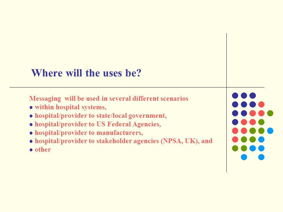 Where will the uses be Messaging will be used in several different scenarios. within hospital systems,