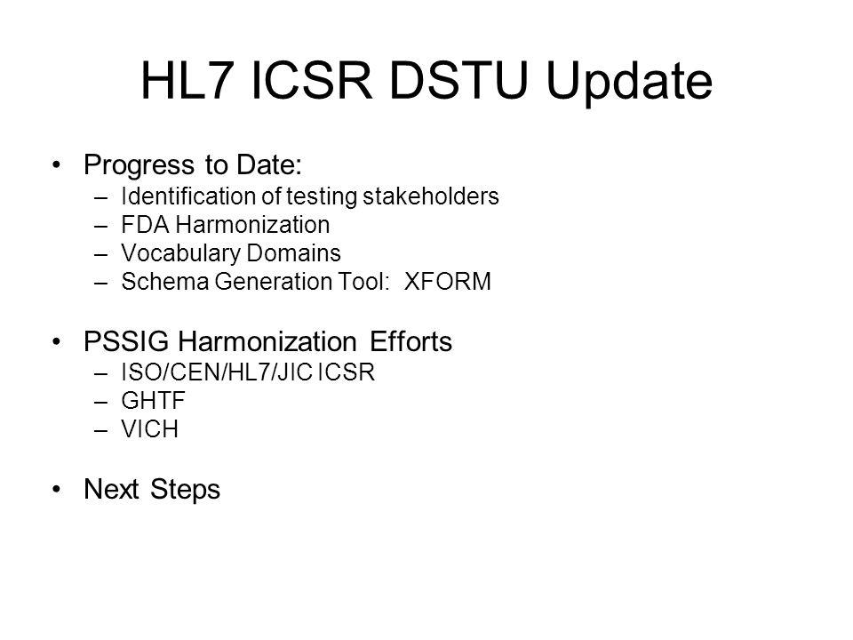 HL7 ICSR DSTU Update Progress to Date: PSSIG Harmonization Efforts