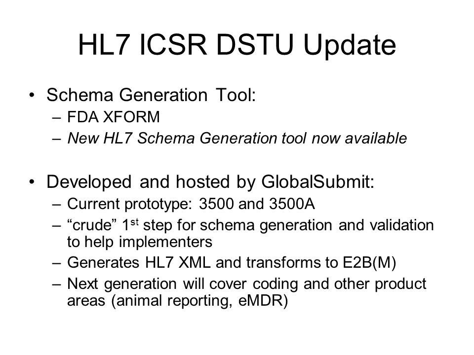 HL7 ICSR DSTU Update Schema Generation Tool: