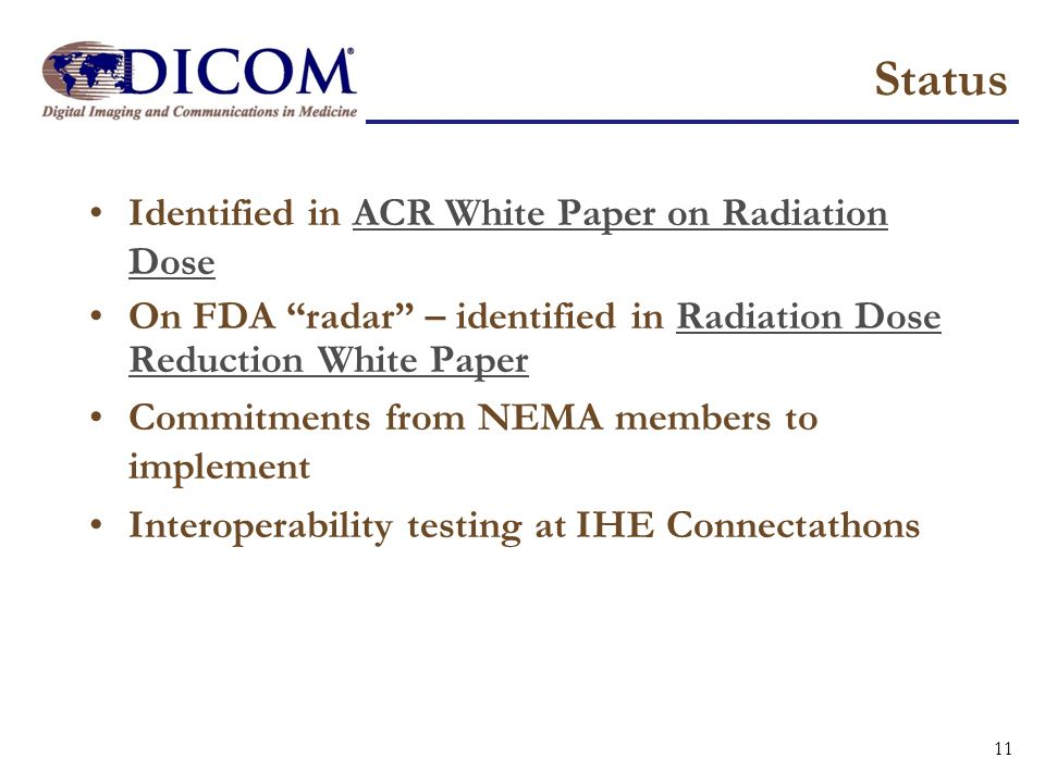 Status Identified in ACR White Paper on Radiation Dose