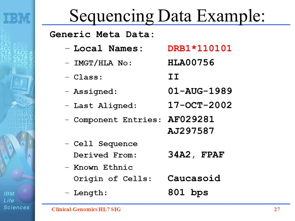 Sequencing Data Example: