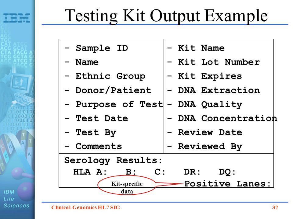 Testing Kit Output Example