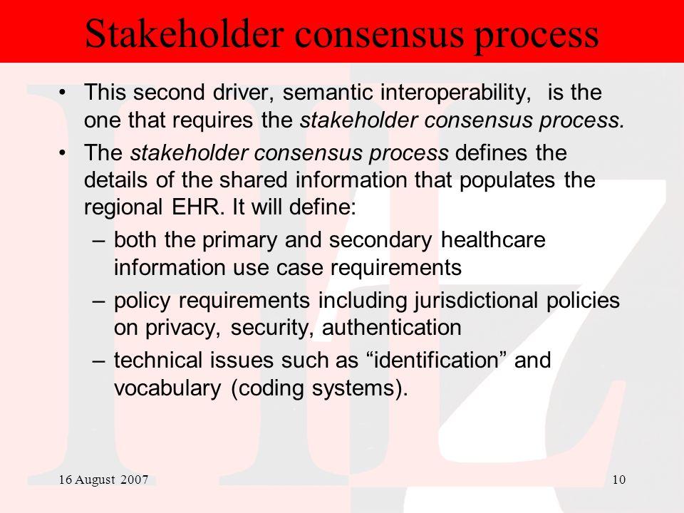 Stakeholder consensus process
