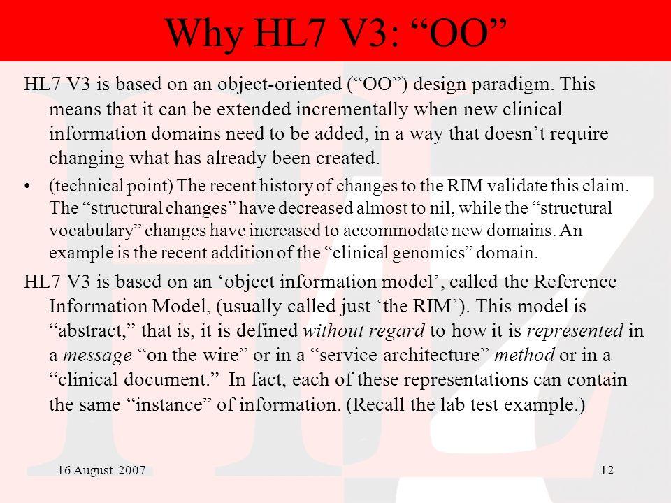 Why HL7 V3: OO