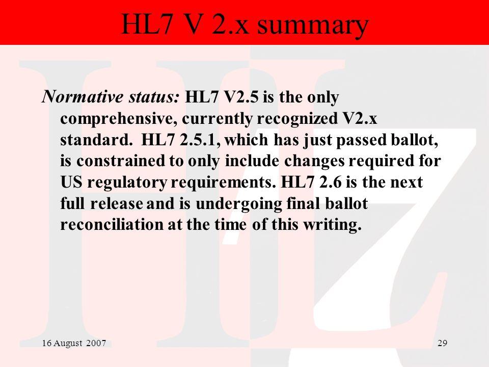 HL7 V 2.x summary