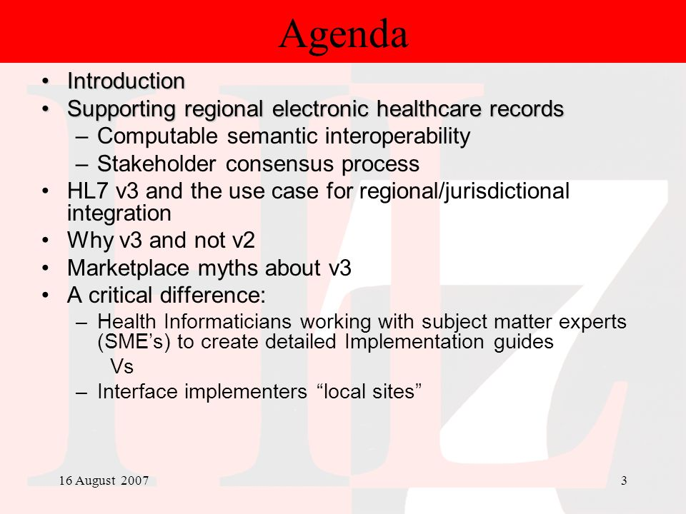 Agenda Introduction Supporting regional electronic healthcare records