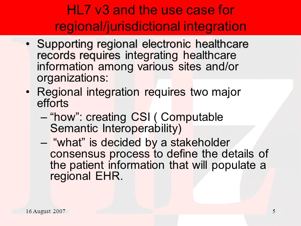 HL7 v3 and the use case for regional/jurisdictional integration