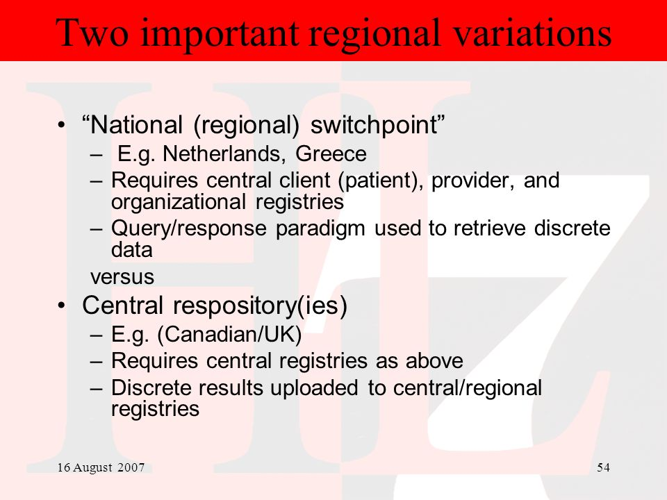 Two important regional variations