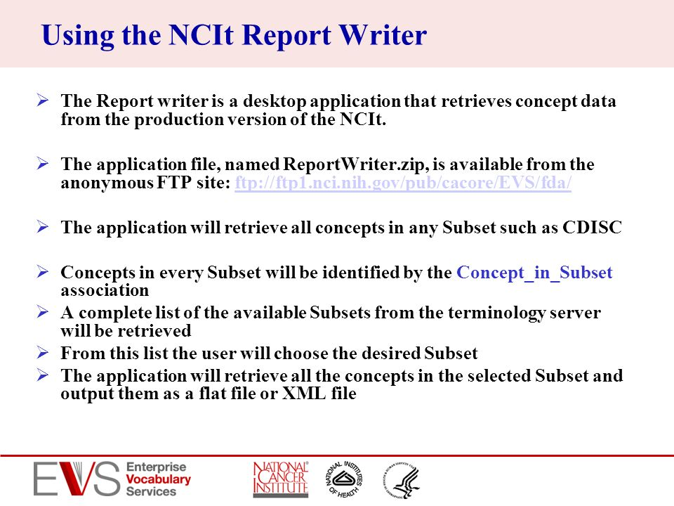Using the NCIt Report Writer