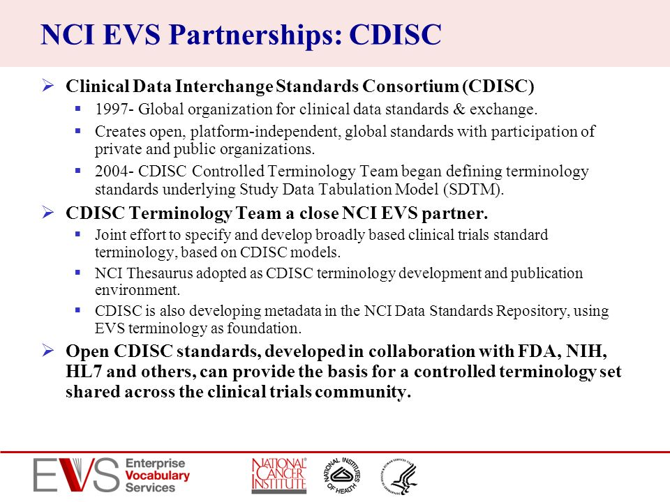 NCI EVS Partnerships: CDISC