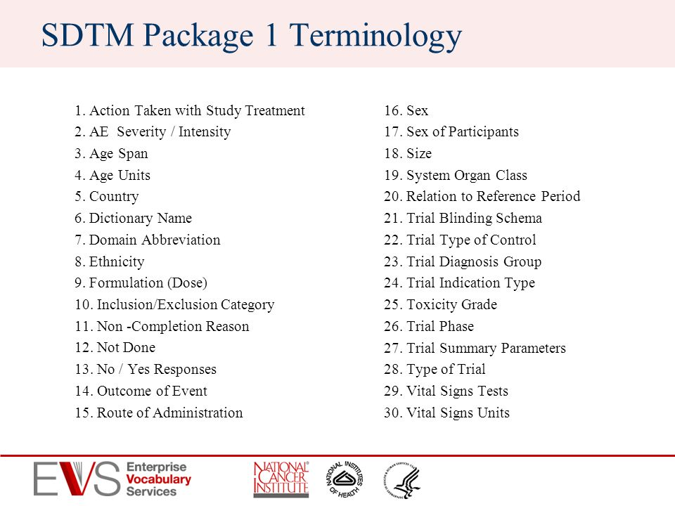 SDTM Package 1 Terminology