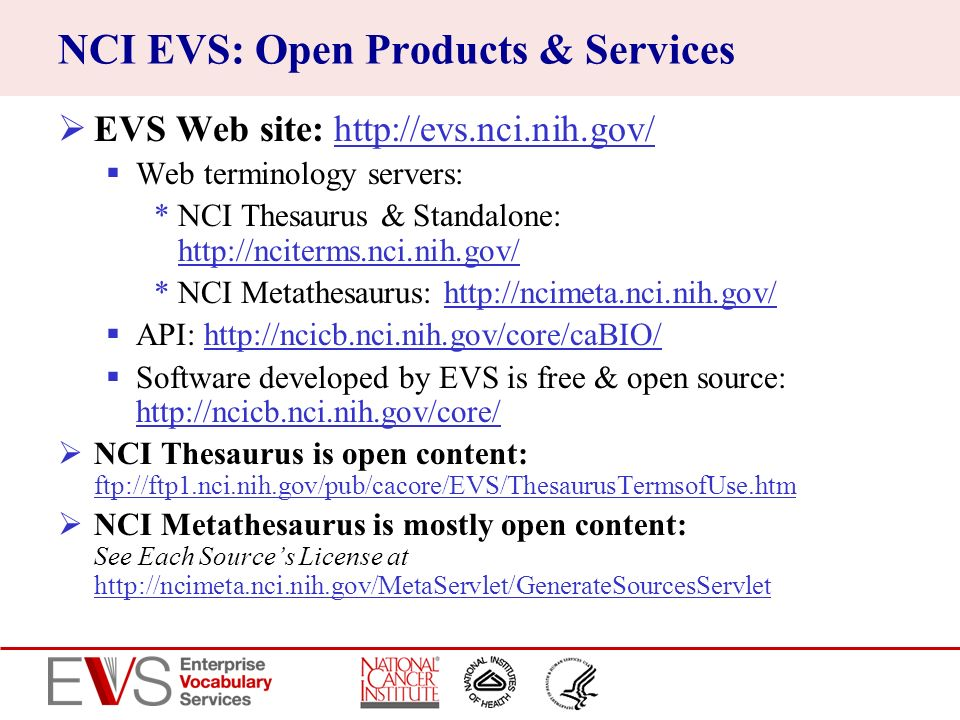 NCI EVS: Open Products & Services