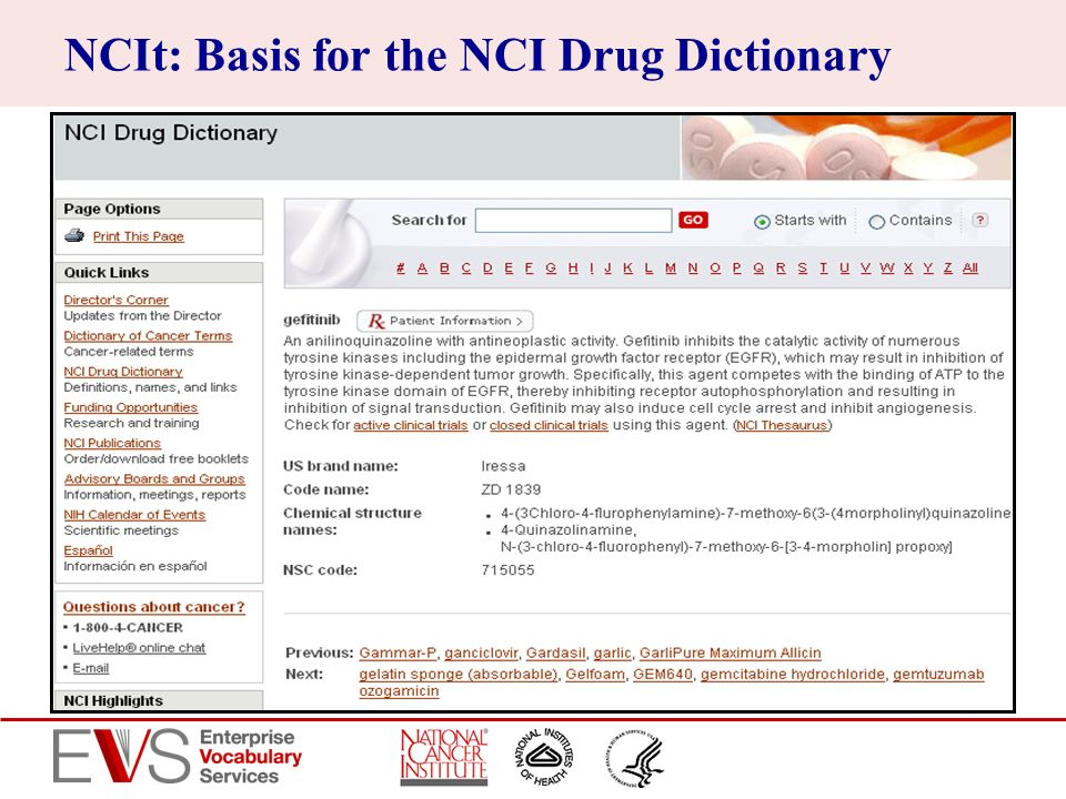 NCIt: Basis for the NCI Drug Dictionary