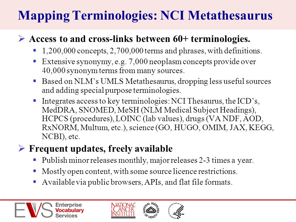 Mapping Terminologies: NCI Metathesaurus