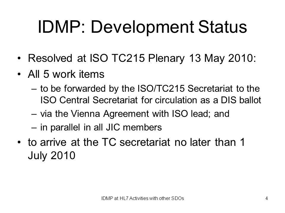IDMP: Development Status