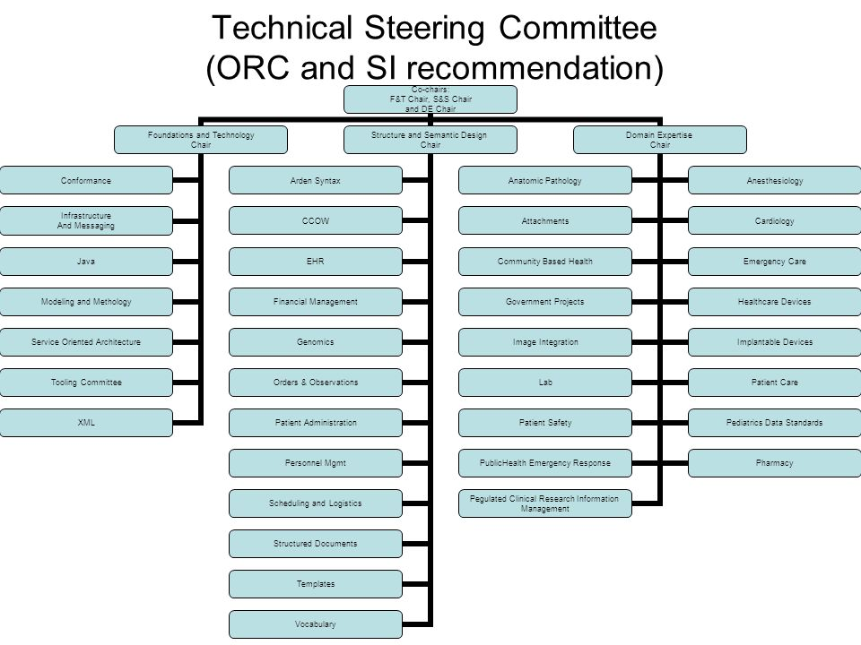 Technical Steering Committee (ORC and SI recommendation)