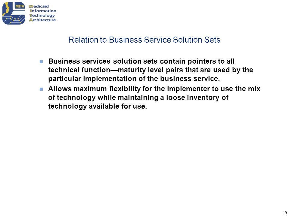 Relation to Business Service Solution Sets